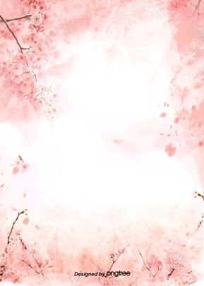 Red Coral Cherry Blossom Background, Do Old, Hand Painted, Illustration, Background image