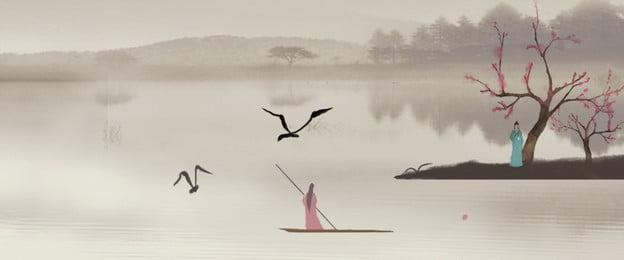 Китайский стиль пейзажной живописи круизное судно фон Древний стиль Китайский стиль Тушь понтировавшего женщина хорошо простой Художественная Китайский стиль пейзажной Фоновое изображение