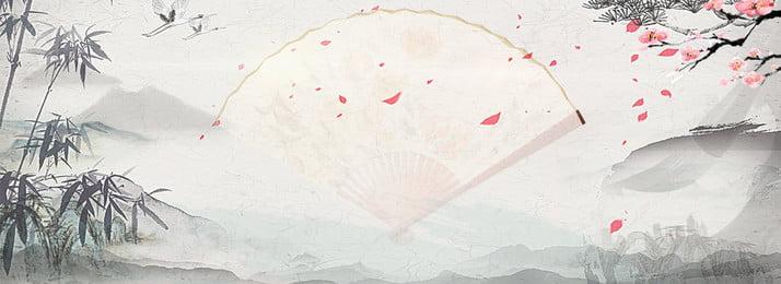 水墨風中式唯美背景 黑色水墨 唯美 紅色花朵 折扇 中國風背景 山水畫 復古花紋 時尚華麗背景 黑色水墨 唯美 紅色花朵背景圖庫