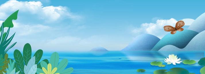 Blue Beautiful Fresh Summer Travel, Lake Water, Green Plant, Blue Sky Background, Background image