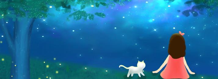 blue dreamy midsummer night firefly background girl little biru mimpi malam midsummer firefly gadis kecil latar, Malam, Langit, Besar imej latar belakang