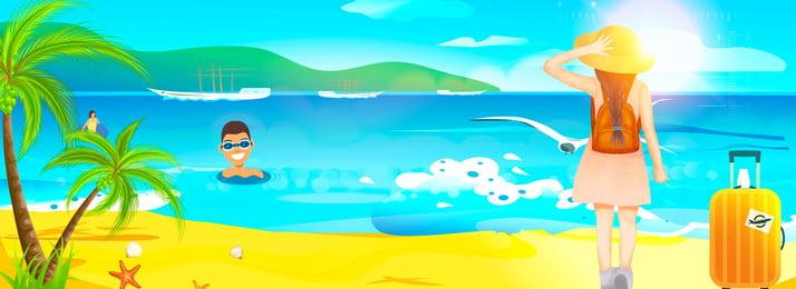 Blue thủ tục nghỉ hè du lịch cây dừa xanh bầu trời cô gái nền Màu xanh Thủ tục Kỳ Dừa Núi Lại Hình Nền