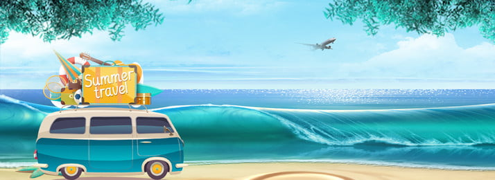 Blue Hand Painted Summer Camp Beach, Car, Sea Background, Sea, Background image