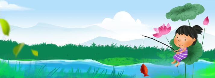 Màu xanh vẽ tay mùa hè trại hè trại trại ao câu cá Màu xanh Vẽ tay Mùa Màu Lịch Sen Hình Nền