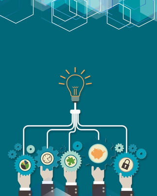blue light bulb office worker polygon , Technology, Exhibition Board, Business Background image