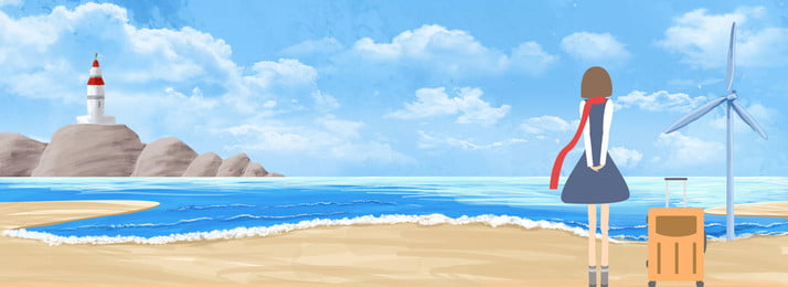 blue sea hand drawn summer vacation travel girl beach background biru laut tangan ditarik percutian musim, Ditarik, Percutian, Biru imej latar belakang