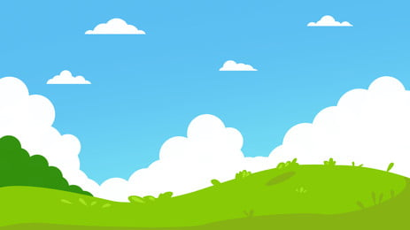 blue sky white clouds green tree castle peak, Grassland, Simple, Cartoon Background image