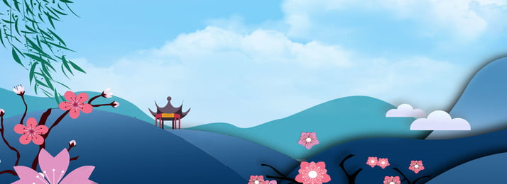 Blue Summer Travel Far Mountain Blue Sky Background, Blue Sky, Cherry Blossoms, White Clouds, Background image