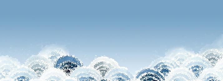 blue ocean sóng phẳng vẽ tay minh họa nền màu xanh sóng Đại dương ngày, Nền, Ukiyo-e, Tay Ảnh nền