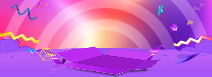 Box Cartoon Poster Blue Purple, Stage, Colorful, Ribbon, Background image