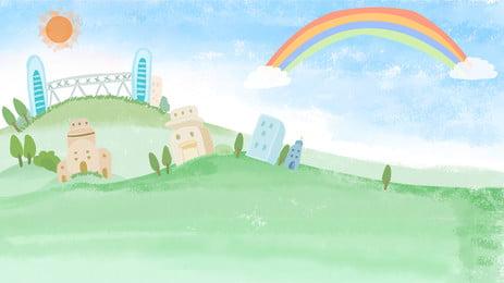 Cartoon Background Rainbow Sky Green Meadow City Factory, Anime Sky, Kawaii, Hand Painted Background, Background image