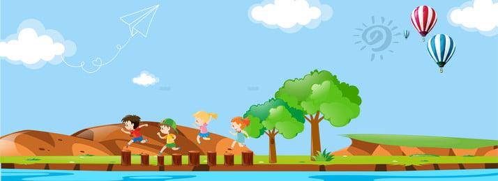 暑期兒童夏令營banner 卡通 童趣 兒童 夏令營 暑假 海報 夏令營海報, 卡通, 童趣, 兒童 背景圖片