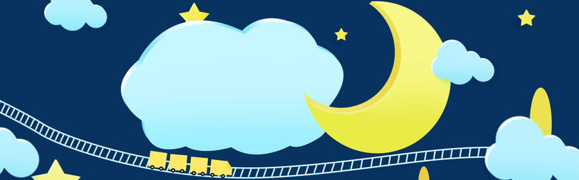 cartoon childrens material blue background mother and baby background, Cloud, Moon, Star Background image