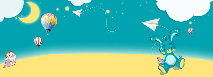 child mother and baby six one blue, Cartoon, Night Sky, Banner Background image