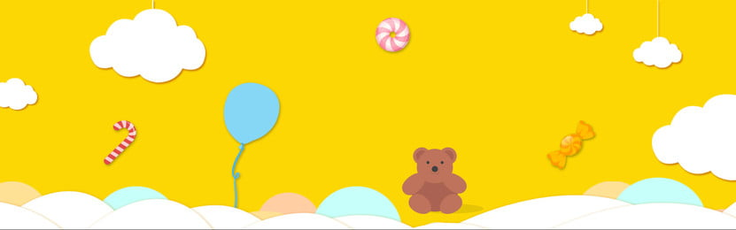 Childrens Day Background Bear Cloud Cartoon, Lovely Wind, Candy, Balloon, Background image