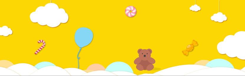 어린이 만화 곰 설탕 배너 어린이 날 배경 곰 구름 만화 사랑스러운, 어린이 만화 곰 설탕 배너, 바람, 사탕 배경 이미지