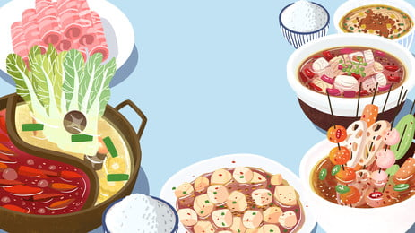 china food sichuan cuisine delicious, Hot Pot, String, Fat Cow Background image