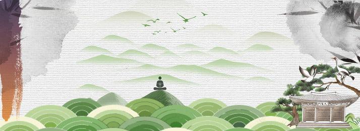 中国と中国の庭園、禅の風景、野生の雲、野生のクレーン、バナー 中庭 禅の風景 レジャークラウドクレーン インク汚れ グリーン 中華風 古代スタイルの緑青, 中国と中国の庭園、禅の風景、野生の雲、野生のクレーン、バナー, 中庭, 禅の風景 背景画像