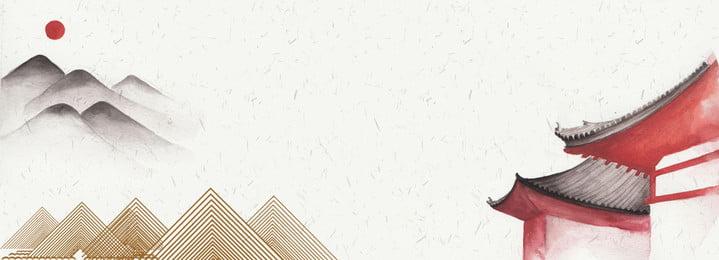 Китайский стиль ручной росписью пейзажный фон Китайский стиль Ручная роспись фон Литература середины Фоновое изображение