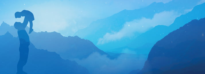 chinese style ink blue gradient fathers day, Parent-child, Far Mountain, Discount Background image