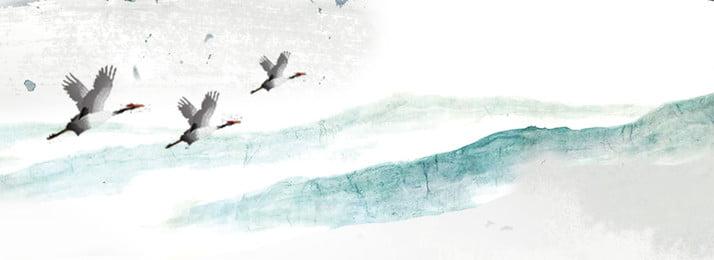 Ilustração de fundo de cartaz literário de estilo chinês de verão Estilo chinês Retro Ganso selvagem Cinza Verde Ilustração De Fundo Imagem Do Plano De Fundo