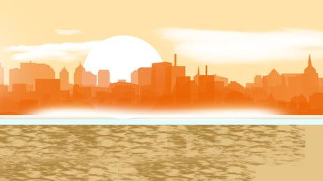 Xây dựng thành phố bóng hình nền poster Thành phố Đơn giản Tòa Cảnh Mẫu Biển Hình Nền