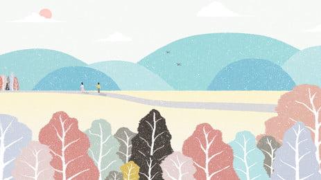 Красочный осенний день открытый горная тропинка лесной пастель рисунок цвет Осенний день на открытом день день на Фоновое изображение