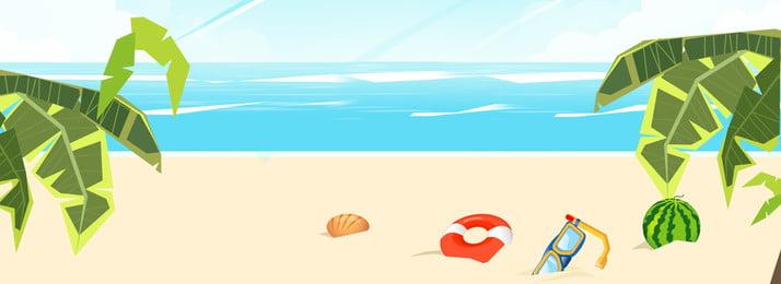 彩色沙灘玩耍度假背景 彩色 沙灘 創意 椰子樹 植物 自然 環境 泳圈, 彩色, 沙灘, 創意 背景圖片