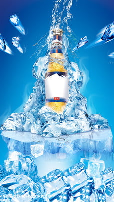 cool ice beer liqueur summer , Float, Ice Cube, Blue Background image