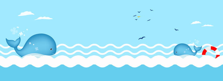 Cool In Summer Cartoon Shading Ocean, Spray, Dolphin, Seagull, Background image