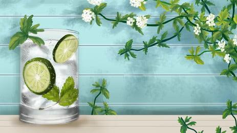 綠色檸檬背景圖片 夏日清涼 綠色檸檬 檸檬汽水 綠色牆壁 青檸檬 夏日汽水 檸檬藤蔓 植物背景, 綠色檸檬背景圖片, 夏日清涼, 綠色檸檬 背景圖片