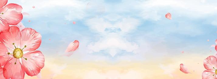 化粧品美しい色の背景美しいポスターバナー 化粧品 美しい カラフルな背景 花 青い空 花びら psd psソースファイル 美しさの背景 暖かい, 化粧品美しい色の背景美しいポスターバナー, 化粧品, 美しい 背景画像