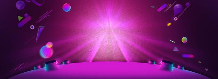 年中背景素材 深紫色 圓形 三角 漸變 幾何 光線 光暈 飄帶 海報banner, 深紫色, 圓形, 三角 背景圖片