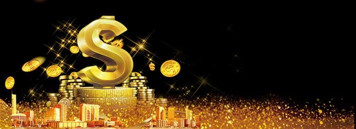 loaner loan gold coin bandeira de publicidade dominante fundo de pôster, Pôster, Dinheiro, Sorte Imagem de fundo