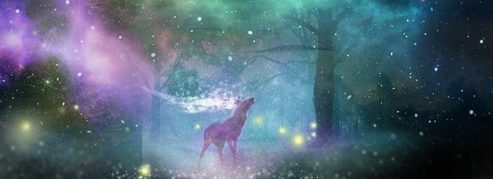 スターライトディアフォレスト内の美しい背景 森 夜空 星空 ニホンジカ 夢 照らす 木の影 真夏, 森, 夜空, 星空 背景画像