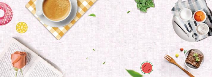 清新文藝夏日咖啡美食背景 清新 文藝 夏日 咖啡 美食背景 葉子 玫瑰 書本 桌布, 清新文藝夏日咖啡美食背景, 清新, 文藝 背景圖片