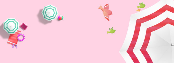 fresh summer pink umbrella, Color Matching, Little Bird, Swimming Ring Background image