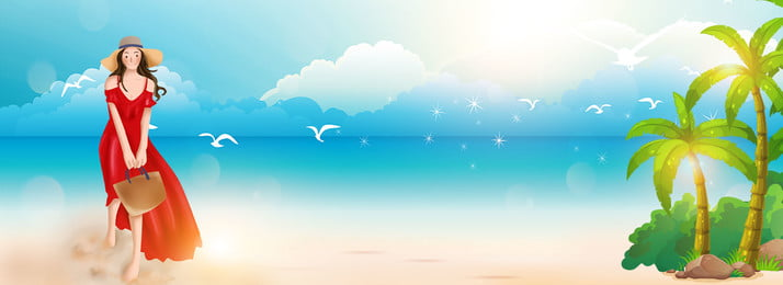 Tốt nghiệp du lịch vẽ tay nền biển Chuyến đi tốt Chuyến Tốt Tốt Hình Nền