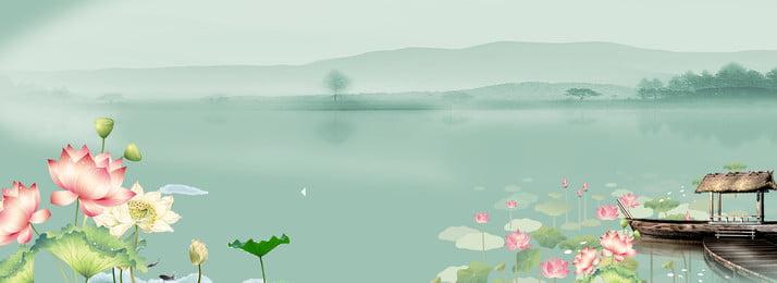 中国風の大きな夏緑のポスターの背景 猛暑 中華風 グリーン ソーラーポスター ロータス ロータス 伝統的なソーラー用語 夏 夏 真夏 猛暑 中華風 グリーン 背景画像