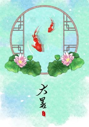 Grande calor estilo chinês mão pintado fundo Grande calor Termos solares Termos Antigo Cartaz Imagem Do Plano De Fundo