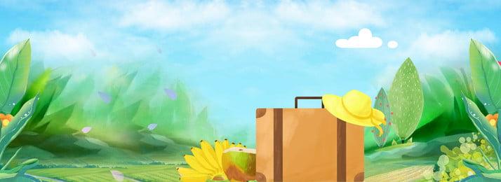 tay xanh vẽ kỳ nghỉ hè du lịch li hộp hoa nền màu xanh chuyến đi, đi, Xanh, Chuyến Ảnh nền