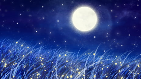 Hand Painted Beautiful Literary Moonlight, Moon, Star, Poster, Background image