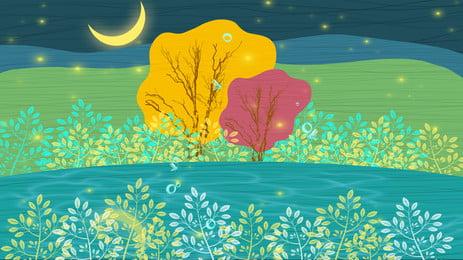 Handgemalte schöne Nachtlandschaft Hand gezeichnet Schön Nacht Mond Bäume Szenerie Poster Hintergrund Hintergrundvorlage Hand Gezeichnet Schön Hintergrundbild