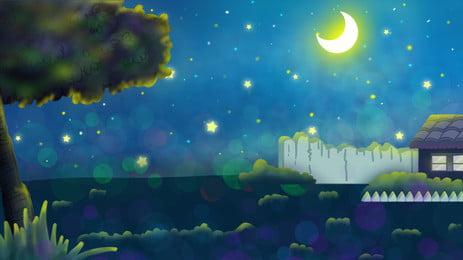 손으로 그린 아름다운 여름 밤 장면 손으로 그린 아름다운 여름 밤 야경 저녁 문 달빛 스타 큰, 나무, 포스터, 배경 배경 이미지