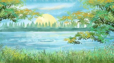 رسمت جميلة البلد الجميل خلفية ملصق مرسومة باليد جميل حياة البلد مياه, رسمت جميلة البلد الجميل خلفية ملصق, مرسومة, النهر صور الخلفية