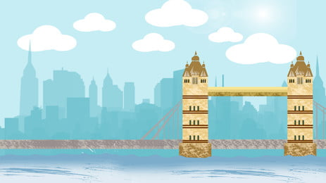 Hand Painted Cartoon Building Blue Sky, White Clouds, Bridge, City Silhouette, Background image