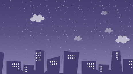 Hand Painted Cartoon City Silhouette Night, At Night, White Clouds, Building, Background image