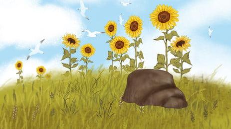 hand painted cartoon sunflower yellow, Flower, Flowers, Grass Background image