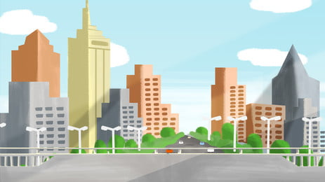 Hand Painted Cartoon Urban Life Building, Houses, High-rise Building, Poster, Background image