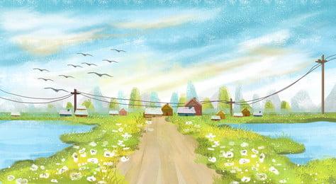 أعطى، تعادل، رسم كاريكتوري، البلد، الحياة، illustration مرسومة باليد رسوم متحركة ألوان, البلد, الطريق, الزهور صور الخلفية